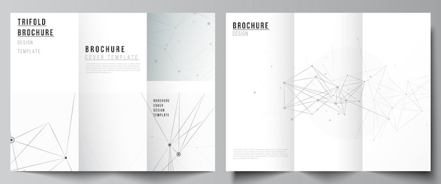 Vector layouts of covers templates for trifold brochure, flyer layout, book design, brochure cover, advertising mockups. gray technology background with connecting lines and dots. network concept.