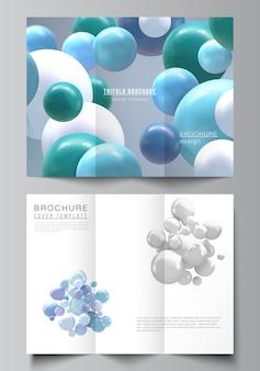 三つ折りパンフレット、パンフレットカバーのカバーデザインテンプレートのベクトルレイアウト。色とりどりの3d球、泡、ボールのあるリアルな背景。