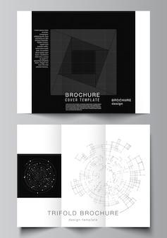 三つ折りパンフレット、チラシレイアウト、ブックデザイン、パンフレットカバー、広告のカバーテンプレートのベクトルレイアウト。黒い色の技術の背景。科学、医療、技術のためのデジタル視覚化。