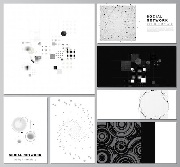 カバーデザインウェブサイトデザインウェブサイトの背景または広告抽象技術ブラックカラー科学背景デジタルデータハイテクコンセプトのソーシャルネットワークモックアップのベクトルレイアウト
