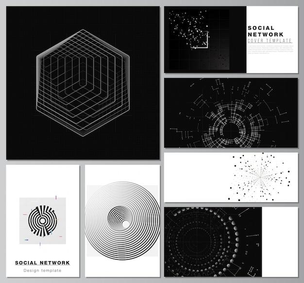 カバーデザイン、ウェブサイトのデザイン、ウェブサイトの背景や広告のためのソーシャルネットワークモックアップのベクトルレイアウト。黒い色の技術の背景。科学、医学、技術概念のデジタル視覚化