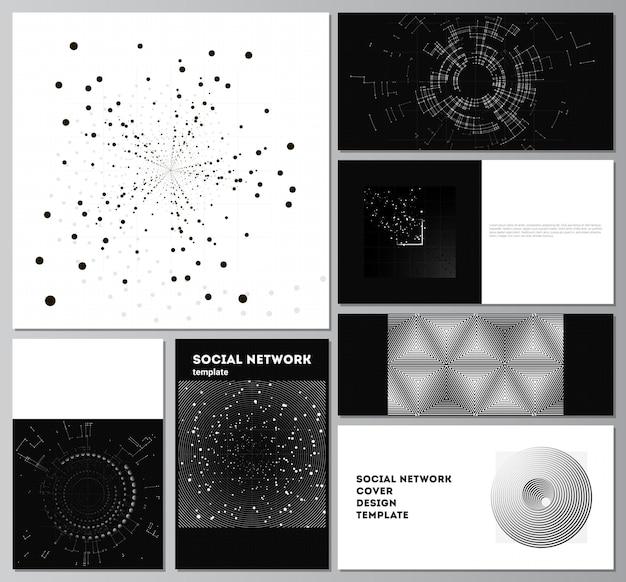カバーデザインのウェブサイトのデザインのウェブサイトの背景またはadvertisingblackカラー技術の背景科学medicinetechコンセプトのデジタル視覚化のためのソーシャルネットワークモックアップのベクトルレイアウト