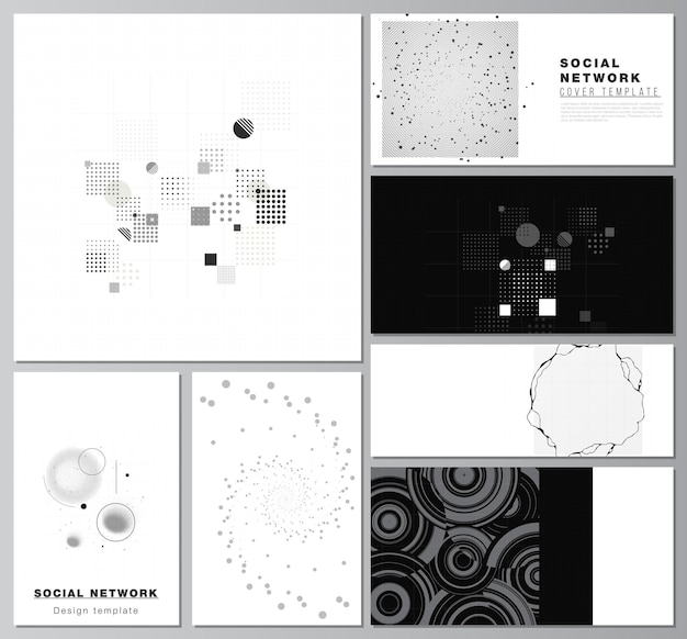 Vector layouts of social network mockups for cover design website design website backgrounds or advertising abstract technology black color science background digital data high tech concept