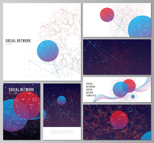 Vector layouts of social network mockups for cover, website design, website backgrounds or advertising mockups. artificial intelligence, big data visualization. quantum computer technology concept.
