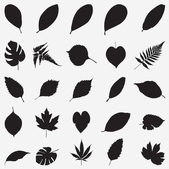 Векторный набор силуэтов листьев