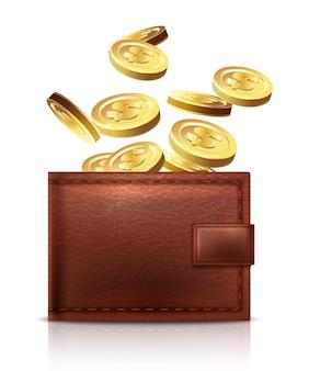 Portafoglio in pelle vettoriale con monete d'oro che cadono in esso isolato su sfondo bianco