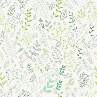 Vector leaves pattern in doodles style