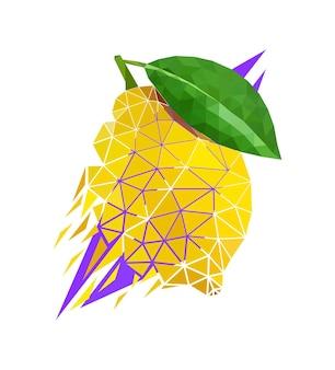 Vector lemon in low poly style. digital art