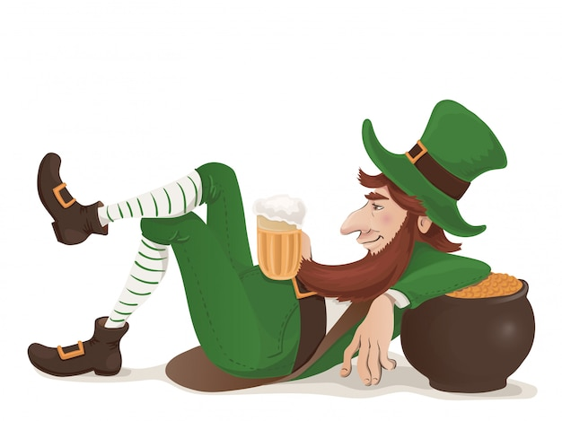 Vector leprechaun with a beer lying leaning on a pot of gold