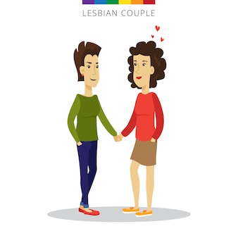 Vector lesbian couple love concept