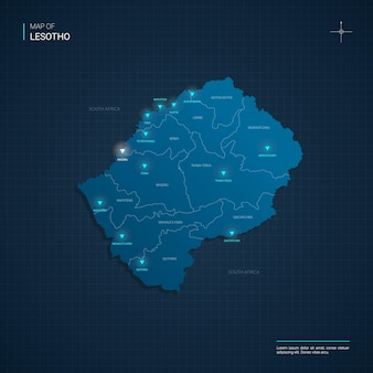 Vector lesotho map illustration with blue neon lightpoints