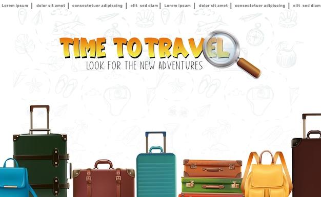 Vector consente di viaggiare sullo sfondo con bagagli e zaini in fila
