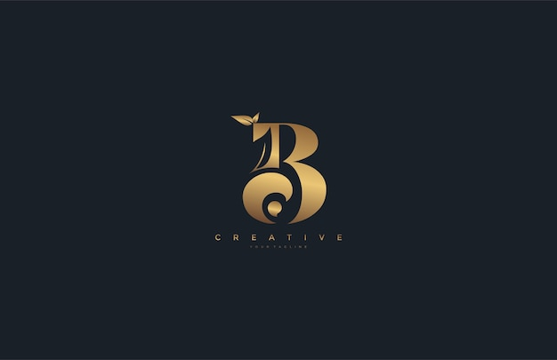 Vector letter b monogram leaf logo golden