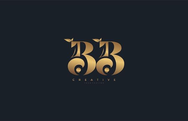 Вектор буква bb вензель лист логотип золотой