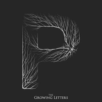 Lettera di vettore p del ramo o alfabeto incrinato.