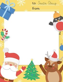 Vector letter to santa claus template. cute christmas card design. winter frame layout for kids with funny characters. festive background with place for text.