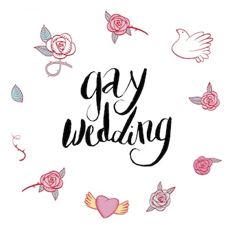 Vector lettering gay wedding