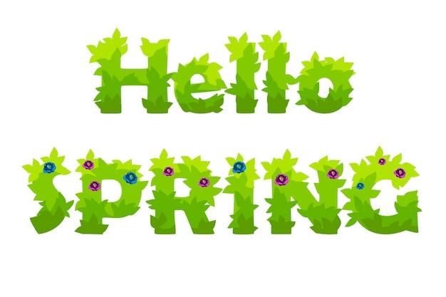 Вектор надписи hello spring трава с цветами. природные надписи открытка фоновой иллюстрации.