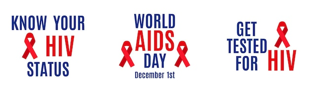 Vector lettering set isolated on white background. know your hiv status. december 1 - world aids day. get tested for hiv