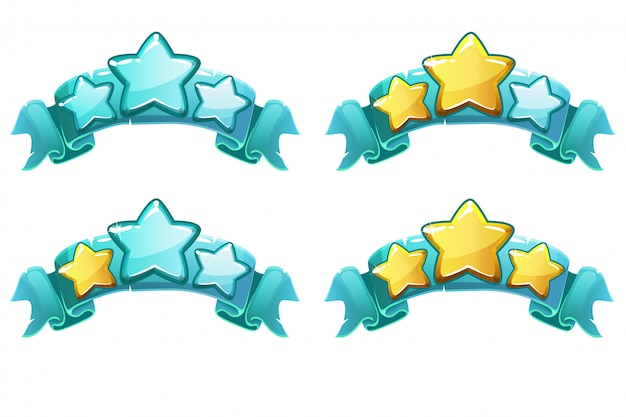 Vector level complete ranking banners with stars on blue ribbon