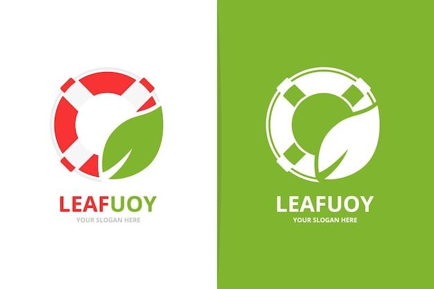 Векторный спасательный круг и логотип в виде листа. символ спасательной шлюпки. уникальный спасательный пояс и органический логотип.