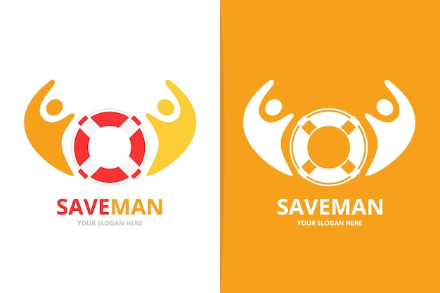 Комбинация векторных спасательных кругов и людей с логотипом уникальная спасательная шлюпка и шаблон дизайна логотипа команды помощи