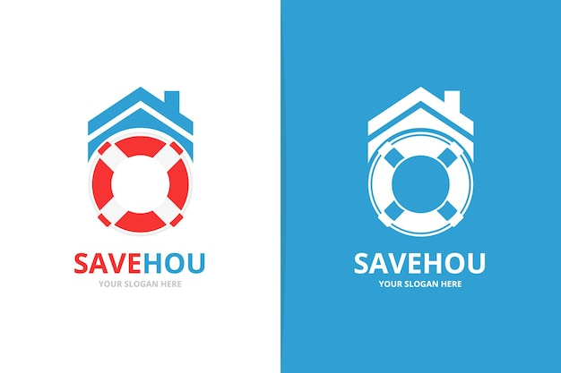 Комбинация вектора спасательного круга и логотипа недвижимости уникальный шаблон дизайна логотипа спасательной шлюпки и аренды