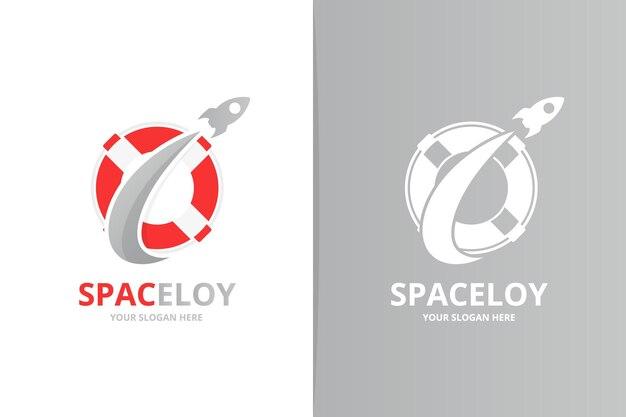 Вектор спасательный круг и комбинация логотипа ракеты. уникальный шаблон дизайна логотипа спасательной шлюпки и полета.