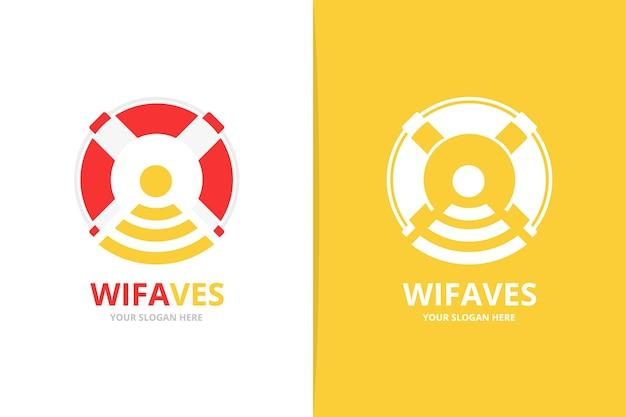 Векторный спасательный круг и логотип wi-fi. символ спасательного пояса. уникальный логотип спасательной шлюпки и радио.