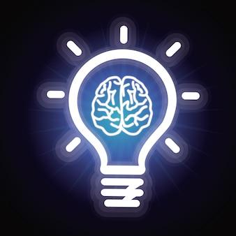 Vector light bulb and brain