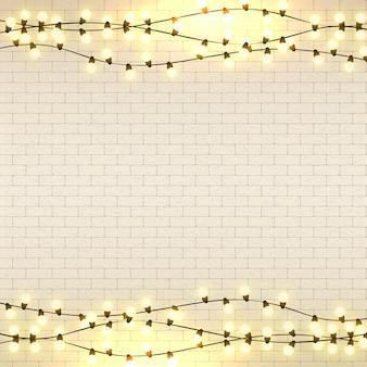 Векторные лампочки, реалистичная ретро гирлянда