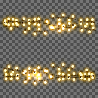 Vector light bulbs, realistic retro garland