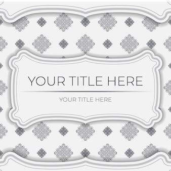 抽象的なパターンを持つベクトルライトカラーはがきテンプレート。マンダラ飾り付きの印刷可能な招待状のデザイン。