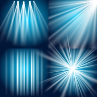 벡터 빛, 플래시, 폭발 및 노을 배경
