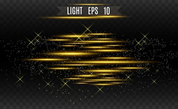 ベクトルライトゴールド特殊効果。輝く明るいストライプ。