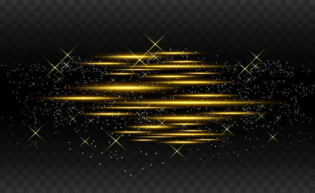 Vector light gold special effect. glowing bright stripes.