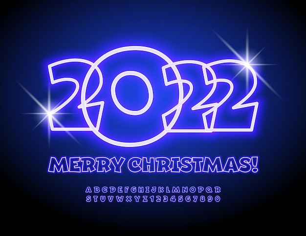 Vector light greeting card merry christmas 2022 electric font glowing alphabet letters and numbers