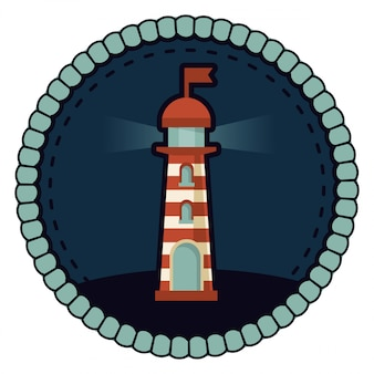 Vector lighthouse illustration - round badge in retro style