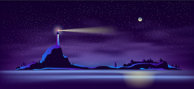 Vector lighthouse at night in ultraviolet colors