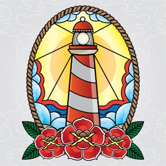 Vector lighthouse tattoo old school