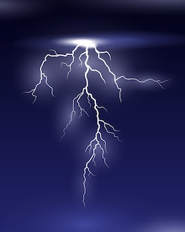Vector lightning on night illustration