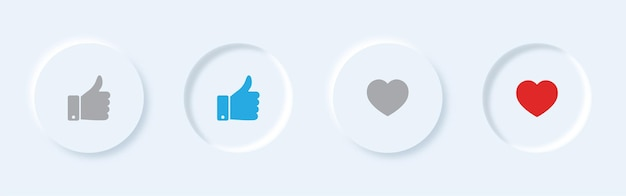 Vector like and thumbs up ui button in neumorphism style.