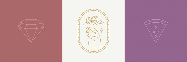Vector line art decoration design elements set - leaves and gesture hand illustrations simple linear style