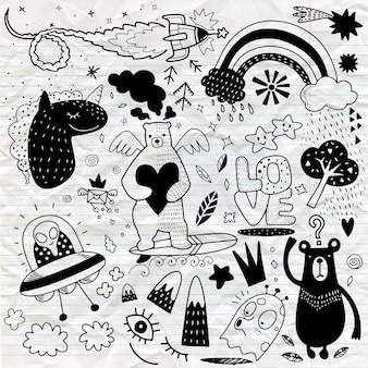Vector line art doodle cartoon set of objects and symbols vol.4 ,hand drawing doodle