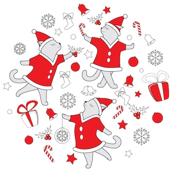Vector line art doodle cute dancing cats illustration for christmas