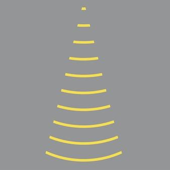 グリーティングカードinvitationbannerウェブ新年のためのベクトル線クリスマスツリー黄色と灰色の松