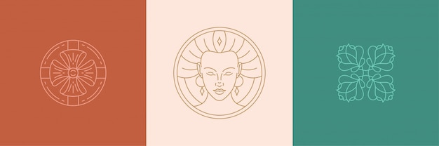 Vector line decoration design elements set - female face and rose illustrations linear style