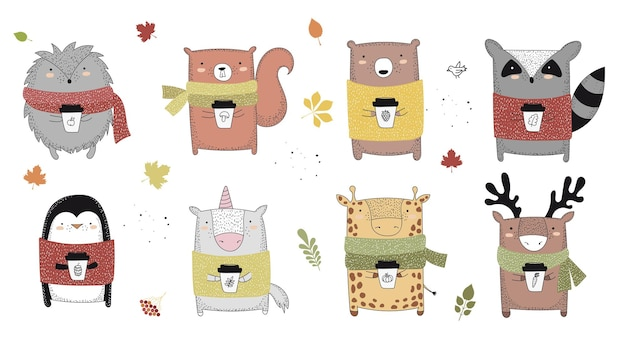 秋の落書きイラストについてのスローガンとセーターで動物を描くベクトル線
