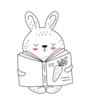 Векторный рисунок линии милый кролик в комбинезоне каракули иллюстрации пасха детский душ