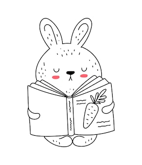 Vector line drawing cute rabbit in jumpsuit doodle illustration easter baby shower
